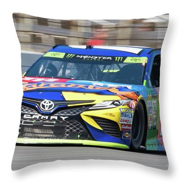 Kyle Busch Coming Out Of Turn 1 Throw Pillow
