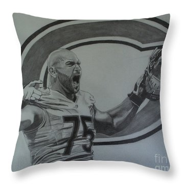 Kyle Long Of The Chicago Bears Throw Pillow