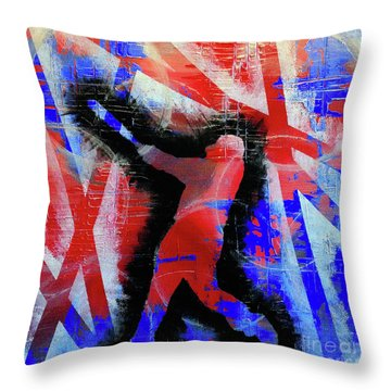 Throw Pillow featuring the painting Kyle Schwarber - #letsgo by Melissa Goodrich