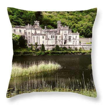 Kylemore Abbey Victorian Ireland Throw Pillow by Menega Sabidussi