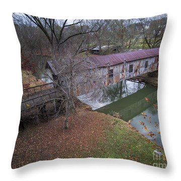 Kymulga Covered Bridge Aerial 1 Throw Pillow