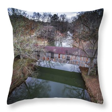 Kymulga Covered Bridge Aerial 2 Throw Pillow