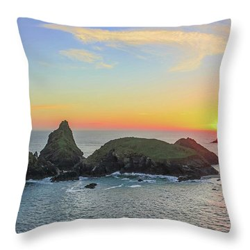 Kynance Cove At Sunset  Throw Pillow