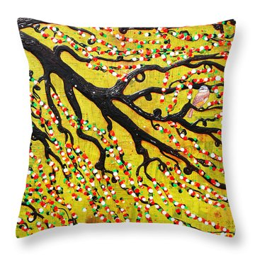 Throw Pillow featuring the mixed media Kyoto Blossoms by Natalie Briney