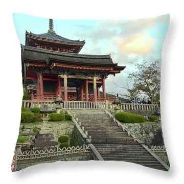 Throw Pillow featuring the photograph Kyoto Temple by Corinne Rhode