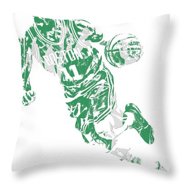 Kyrie Irving Boston Celtics Pixel Art 9 Throw Pillow