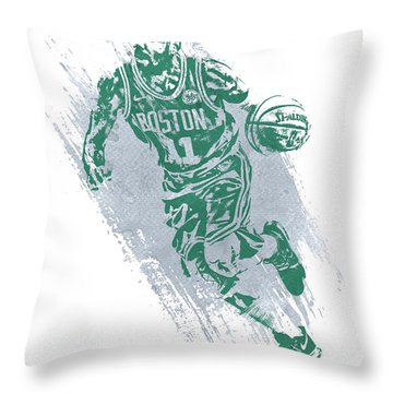 Kyrie Irving Boston Celtics Water Color Art 2 Throw Pillow