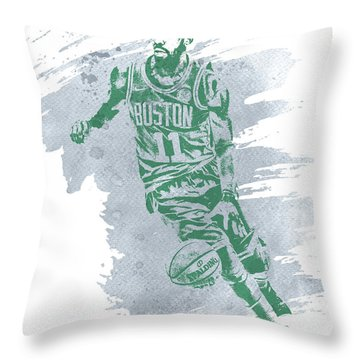 Kyrie Irving Boston Celtics Water Color Art 3 Throw Pillow