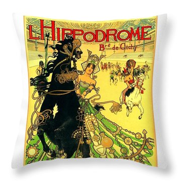 L Hippodrome 1905 Parisian Art Nouveau Poster II 1905 Throw Pillow