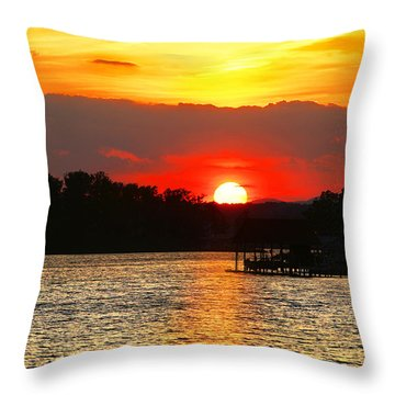 Bloody Red Sunset Smith Mountain Lake Throw Pillow