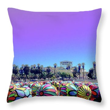 Throw Pillow featuring the photograph Los Angeles Glows In The Spheres Of Macarthur Park by Lorraine Devon Wilke