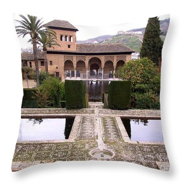 La Alhambra Garden Throw Pillow by Thomas Marchessault