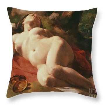 La Bacchante Throw Pillow by Gustave Courbet