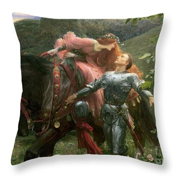 La Belle Dame Sans Merci Throw Pillow by Sir Frank Dicksee