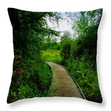 Throw Pillow featuring the photograph La Budde Boardwalk by Kimberly Mackowski