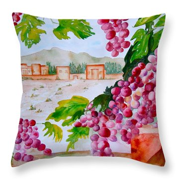 Throw Pillow featuring the painting La Casa Del Vino by Sharon Mick