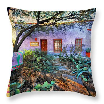 Throw Pillow featuring the photograph La Casa Lila by Barbara Manis
