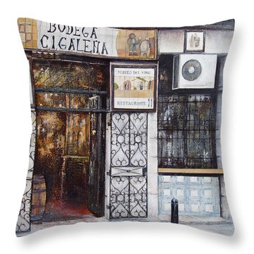 La Cigalena Old Restaurant Throw Pillow by Tomas Castano