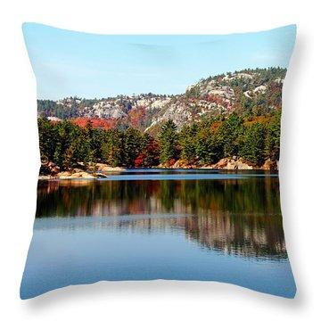 La Cloche Mountain Range Throw Pillow by Debbie Oppermann