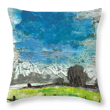 Throw Pillow featuring the painting La Crau by Martin Stankewitz