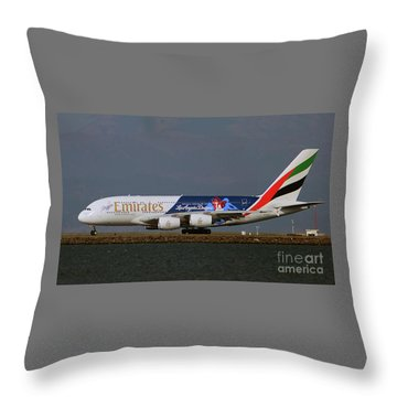 La Dodgers A380 Ready For Take-off At Sfo Throw Pillow