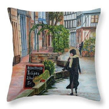 La Femme Aux Tulipes Throw Pillow by Jean-Pierre Ducondi