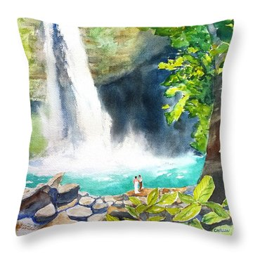 La Fortuna Waterfall Throw Pillow