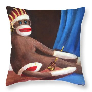 Throw Pillow featuring the painting La Grande Sock Monkey by Randol Burns
