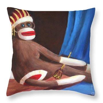 La Grande Sock Monkey Throw Pillow by Randy Burns