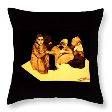 Throw Pillow featuring the drawing La It Khafeen Habibti by MB Dallocchio