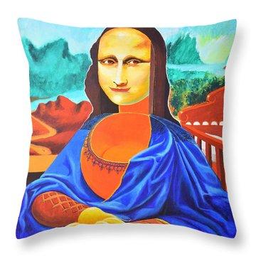 La Joconde Sur La Table Au Bol Vide Throw Pillow