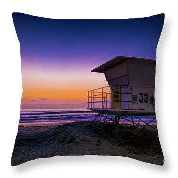 La Jolla Beach Sunset Throw Pillow