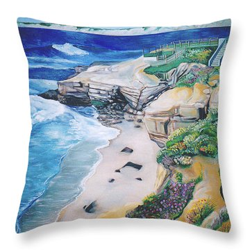 La Jolla Coast Throw Pillow by John Keaton