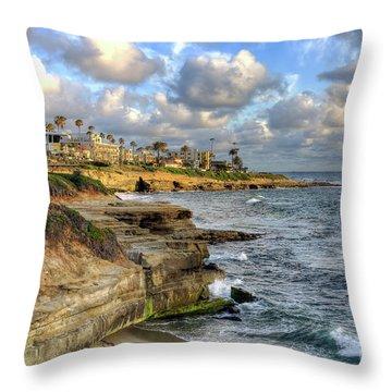 La Jolla Coastline Throw Pillow