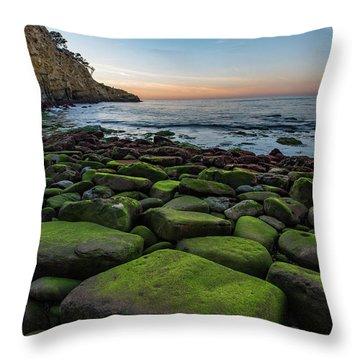 La Jolla Cove Mossy Rocks Sunset Throw Pillow
