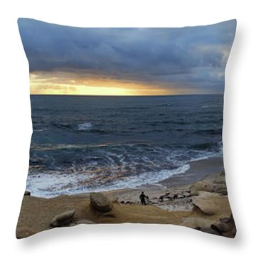 La Jolla Shores Beach Panorama Throw Pillow