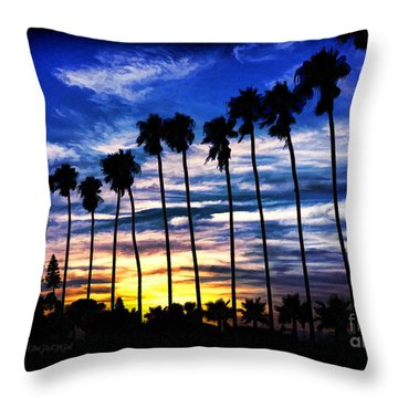 La Jolla Silhouette - Digital Painting Throw Pillow