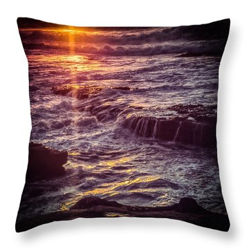 Throw Pillow featuring the photograph La Jolla Sunset-color by Samuel M Purvis III