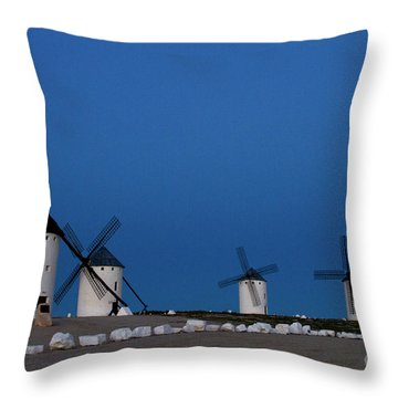 Throw Pillow featuring the photograph La Mancha Windmills by Heiko Koehrer-Wagner