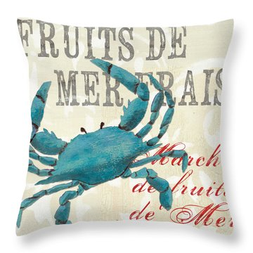 La Mer Shellfish 1 Throw Pillow by Debbie DeWitt