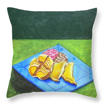 La Merienda II Throw Pillow by Manny Chapa