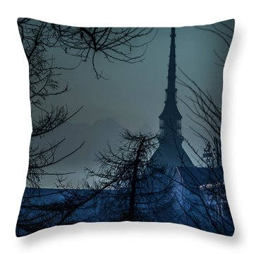 La Mole Antonelliana-blu Throw Pillow