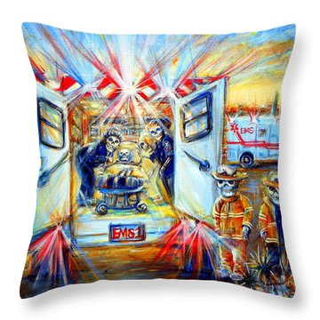 Throw Pillow featuring the painting La Paramedica by Heather Calderon