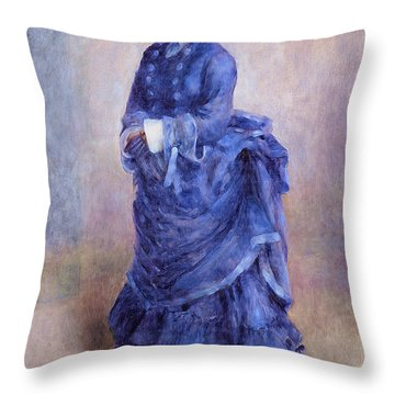 La Parisienne The Blue Lady  Throw Pillow by Pierre Auguste Renoir