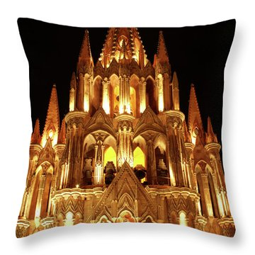 Throw Pillow featuring the photograph La Parroquia At Night San Miguel De Allende Mexico by John  Mitchell
