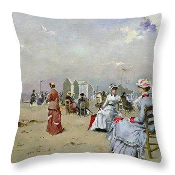 La Plage De Trouville Throw Pillow by Paul Rossert