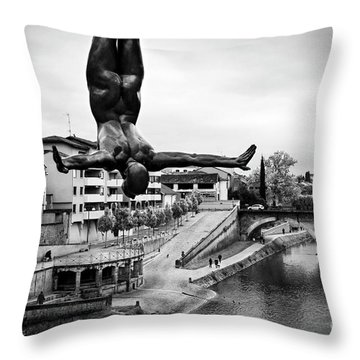 La Plongueuse Over The Midouze River Throw Pillow by RicardMN Photography
