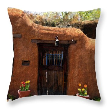 La Puerta Marron Vieja - The Old Brown Door Throw Pillow by Kurt Van Wagner