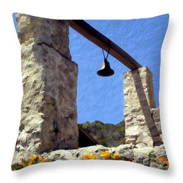 La Purisima Mission Bell Tower Throw Pillow by Kurt Van Wagner