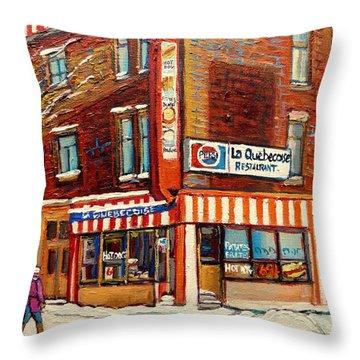 La Quebecoise Restaurant Deli Throw Pillow by Carole Spandau